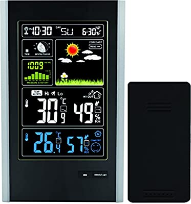 Atomic Wireless Weather Station with Indoor / Outdoor Wireless Sensor - Color Display Weather Station Alarm Clock With Temperature Alerts, Forecasting by Think Gizmos.