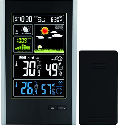 Atomic Wireless Weather Station with Indoor/Outdoor Wireless Sensor - Color Display Weather Station Alarm Clock With Temperature Alerts, Forecasting by Think Gizmos. 2