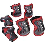 Kid Cycling Roller Skating Knee Elbow Wrist Protective Pads - Black And Red
