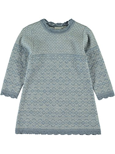 Name it Strickkleid Wollkleid Norweger NITWHOOPIMIX KNIT WOOL DRESS 13139195 ashley blue Gr.122