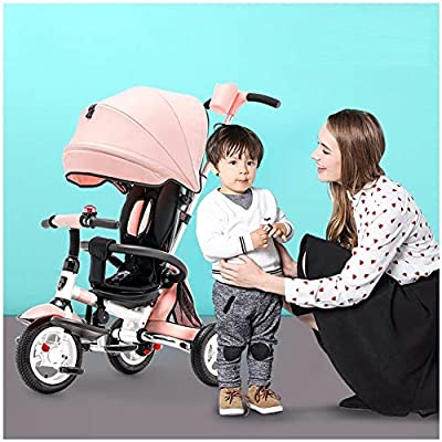 JYY 4-in-1 Baby Tricycle Folding Kids Easy Steer Tricycle Buggy Stroller with Detachable Canopy Pushing Handle Learning Bike,Pink-1