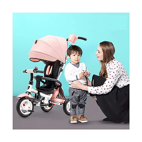 GSDZSY - 3 IN 1 Children Tricycle Foldable,With detachable push rod and awning, Rain and UV protection ,Push rod can control steering, 1-6 years old GSDZSY ❀ Material: High carbon steel + ABS + rubber wheel, suitable for children from 6 months to 6 years old, maximum load 30 kg ❀ Features: The push rod can adjust the height and control direction, the seat can rotate 360; the baby can lie flat, adjustable umbrella, suitable for different weather conditions ❀ Performance: high carbon steel frame, strong and strong bearing capacity; non-inflatable rubber wheel, suitable for all kinds of road conditions, good shock absorption, seat with breathable fabric, baby ride more comfortable 1