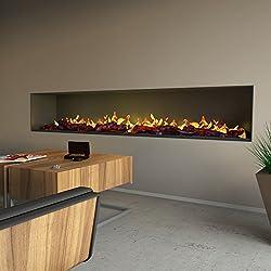 muenkel Design Wall FUEGO electrónico Pro - opti-myst elektrokamineinsatz: 2200mm - CON IMITACIÓN MADERA - 2.000 vatios potencia de calefacción