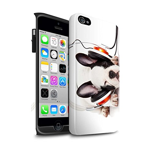 STUFF4 Glanz Harten Stoßfest Hülle / Case für Apple iPhone 5C / Neugieriges Kaninchen Muster / Lustige Tiere Kollektion Hund Köpfhörer
