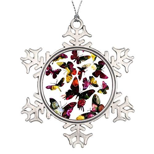 Monsety Rose Schmetterling Collage Weihnachten Deko Schneeflocke Ornaments Home Deocr Anniversary Keepsakes -
