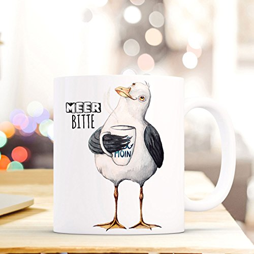 Lustige Tasse Becher Kaffeetasse maritim mit Möwe Spruch Kaffeebecher Geschenk Motto Spruchbecher Meer bitte ts640 ilka parey wandtattoo-welt®