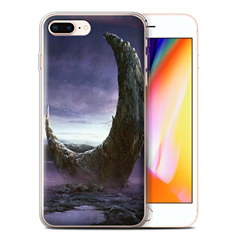 Offiziell Chris Cold Hülle / Gel TPU Case für Apple iPhone 8 Plus / Elektro-Sturm Muster / Fremden Welt Kosmos Kollektion Zerbrochenen Mond