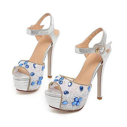 W&LM Signorina Tacchi alti sandali Scarpe da sposa Scarpe da sposa Piattaforma impermeabile fibbia Scarpe di bocca di pesce Le amiche della sposa Strass Ok sandali Silver