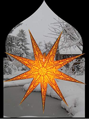 P.Lights Deko Outdoorstern Leuchtstern Outdoor Stern Außen Weihnachtsstern Weihnachtsdeko Weihnachtsbeleuchtung Stern mit 4m Kabel für Beleuchtung (Orange/Glitzer)