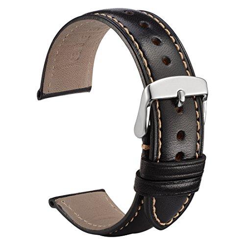 WOCCI Feinkörnig Kalb Leder Uhrenarmband 18mm - Herren, Damen Ersatz Armband (Schwarz mit Kontrastnaht)