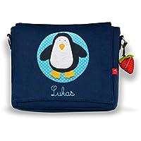 Kindergartentasche & Kindergartenrucksack in einem: Pinguin für Jungen und Mädchen (mit Namen) in blau