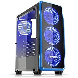 EMPIRE GAMING - Boitier PC Gamer DarkRaw Noir - 4 Ventilateurs LED Bleu 120 mm - Paroi 100% Transparente - Compatible ATX/mATX/mITX