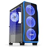 Empire Gaming - Caja PC para juegos DarkRaw negra LED azul: USB 3.0 y USB 2.0, 4 ventiladores LED 120 mm +...