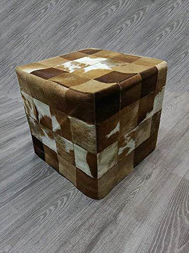 Zerimar sgabello puff | rivestito in pelle di mucca premium | misure: 45x45x45 cms | sgabelli pelle | sgabelli bassi | sgabello cube | sede puff
