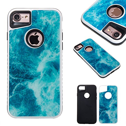 Ooboom® iPhone 6S/6 Plus Coque Housse Motif de Marbre Hybride Caoutchouc Dur TPU Silicone Étui Bumper Cover Case Double Couche pour iPhone 6S/6 Plus - Orange Bleu