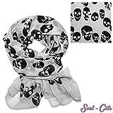 SoulCats® hellgraues Halstuch mit schwarzen Totenköpfen aus weichem Polyester