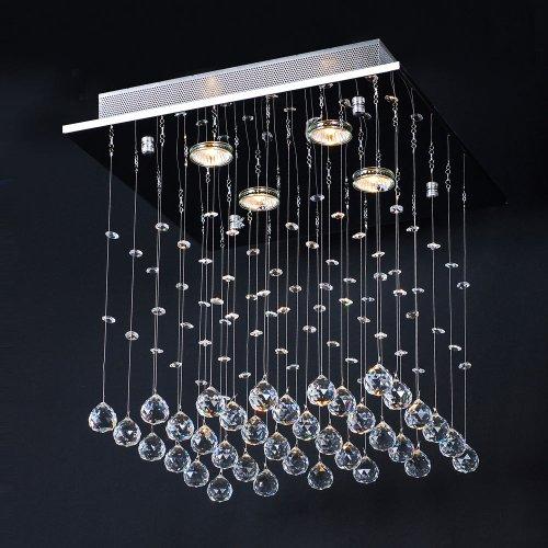 Kristall Deckenleuchte | 40x40x40 cm, 4-flammig, für GU10, A++, Modern Design, Silber | Kronleuchter, Deckenlampe, Deckenstrahler, Kristallkronleuchter | für Wohnzimmer, Esszimmer, Schlafzimmer -