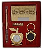 #5: KingShop's 4 in 1 Gift Set with Metal Table Clock,Crystal Pen,Business Card Holder, Metal Keychain
