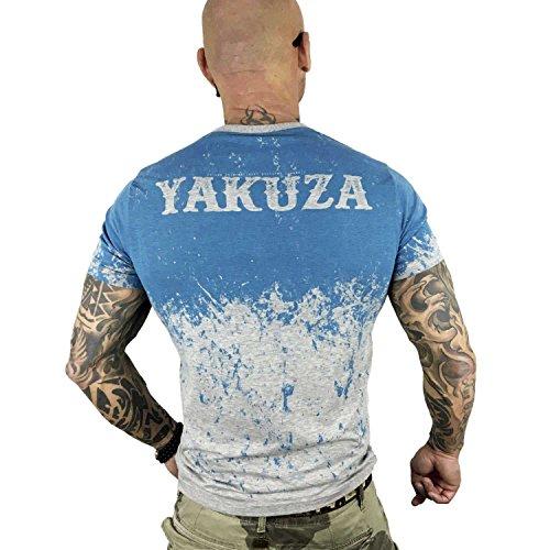 Yakuza Original Herren Splatter T-Shirt Hellgrau Meliert