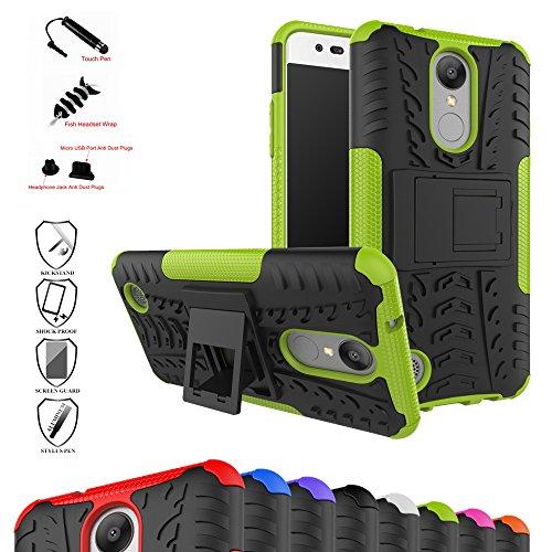 LG Mobile K8 (2017) Kick-Ständer Hülle,Mama Mouth [Heavy Duty] Rugged Armor stoßfest Handy Schutzhülle Silikon Tasche Ständer Hülle Case mit Standfunktion für LG K8 2017 (LGM200N) 5 Zoll SmartPhone,Grüne