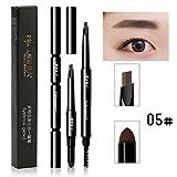 ZHUOTOP 3 en 1 5 colores doble punta impermeable maquillaje cejas bolígrafo + polvo de cejas + cepillo