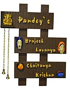 Buy karigaari wooden family name plate online at low prices in india for Marathi name plate designs home