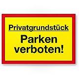 Privatgrundstück - Parken Verboten Kunststoff Schild, Parkverbotsschild Grundstück - Parkverbot/Halteverbot, Privatgrund - Hinweisschild, Verbotsschild - widerrechtlich abgestellte Fahrzeuge