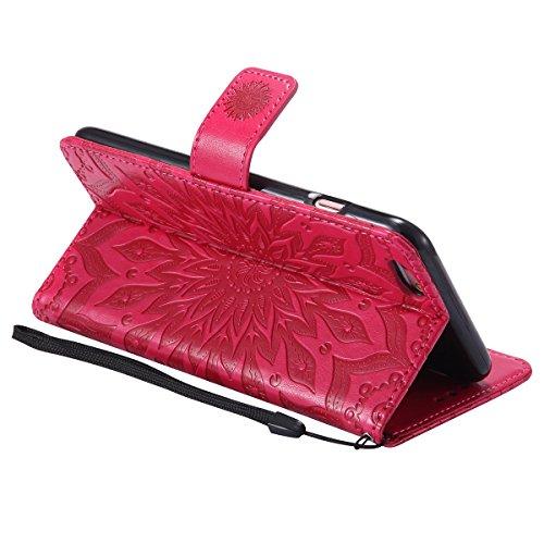 iPhone 6 Plus Coque Portefeuille Pu,iPhone 6S Plus Étui en Cuir Flip avec Folio Magnétique,Ultra Slim Leather Wallet Case Flex Soft Cuir à Rabat Téléphone Housse Etui de Protection Mode Créatif Désign Rouge*