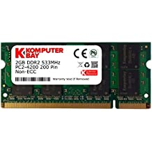 Komputerbay KB_2GB_PC2_4300_533_SODIMM - Tarjetas de Memoria SODIMM para portátiles 2GB DDR2, 533MHz PC2-4200/PC2-4300 DDR2 533, 200 Pines