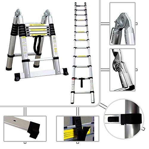 Hocker 2in 1Teleskopleiter Pro 95cm bis 3,80Meter d Höhe–Norm EN131