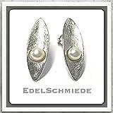 Ohrstecker in 925 Silber rhod. eismatt + Perle