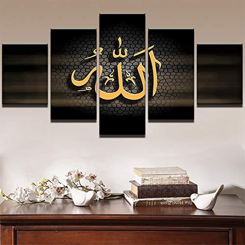 WLHDM Leinwand Wandkunst HD Gedruckt Moderne Öl Poster 5 Stücke Islamischen Allah Der Koran Malerei Wohnkultur Buchstaben Bilder Kein Rahmen - Moderne öl-malerei