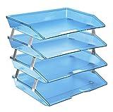 Acrimet Vaschetta Portacorrispondenza a Quattro Livelli (A4) ( Colore Blu Chiaro)