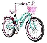 BIKESTAR Premium Sicherheits Kinderfahrrad 20 Zoll für Mädchen ab 6 - 7 Jahre ★ 20er Kinderrad Cruiser ★ Fahrrad für Kinder Mint