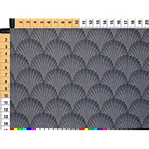 Walter Kern Polsterstoff Deko-Stoff Meterware Kunstleder Deep Blue Shell Strapazierfähiges Kunstleder im Muschel-Design 140 cm breit