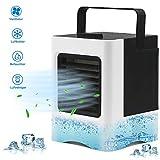 Fromoth Mini Climatiseur Portable Ventilateur, Refroidisseur d'air Portable, [ USB Ventilateur, Humidificateur, Purificateur ] 3 en 1 Réglable Air Climatiseur, pour Maison/Bureau/Camping - Blanc