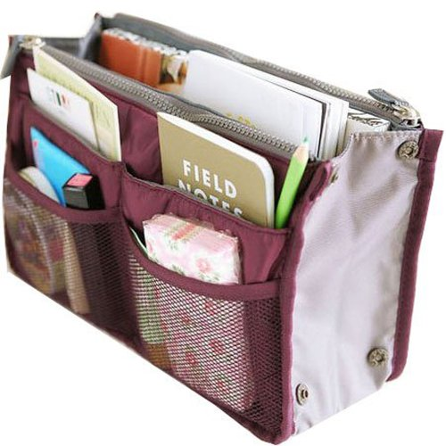 Hee Grand Women's Handbag Organiser Liner Tidy Travel Cosmetic Pocket Insert 12 Pockets Large Wine