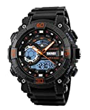 Skmei Analogue Digital Black Dial Water Proof Sports Watch for Men and Boys