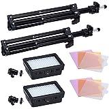 """Neewer Bestlight 90082117 - Fotografía 160 LED Kit de iluminación de estudio, incluyendo (2) 160 LED, panel de luz de vídeo de alta potencia para videocámara y cámaras digitales DSLR (2) 32 """"/ 80 cm, con mini soporte de luz de fotografía"""