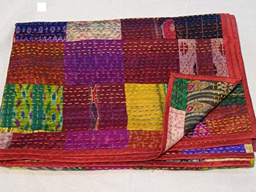 Tribal Asian Textiles Indien Lit avec Couette – Twin Vintage Vieux Patola Indien Soie Sari Kantha matelassé Patchwork Couvre-lit bohémien Kantha Couvre-Lits, Gudari Fait à la Main.