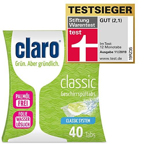 claro Classic Tabs - 40 Stück phosphatfreie Geschirrspültabs im Sparpaket