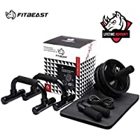 3-in-1 Ab Wheel Roller Set AB Roller with Push-Up Bar, Skipping Rope and Knee Pad - Home Workout Equipment for Abdominal Core Strength Training Workout - Ab Trainer Fitness Equipment for Home Gym