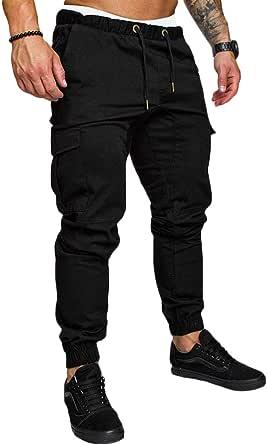 MakingDa Men's Casual Trousers Multi Pockets Slim Fit Sports Work Cargo Pants Workout Running Sweatpants Bottoms Elasticated Waist