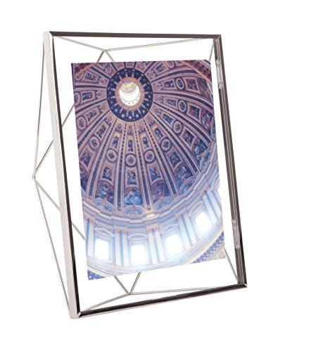 Umbra Prisma 20x25 cm Bilderrahmen – Wand- und Tisch Fotorahmen für Bilder, Kunstdrucke, Illustrationen, Graphiken und Mehr, Metall / Glas, Silber