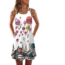 7d50ee81bab Modaworld Vestido Cortos Mujer Verano de Playa Vestido Corto sin Mangas con  Estampado Floral en 3D