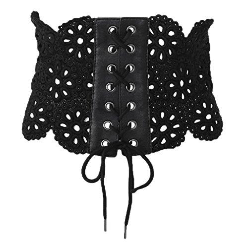 Lamdoo - Cinturón Elástico de Encaje para Mujer, con corsé Ancho, Piel sintética, Negro, Dimensions: 71x19cm