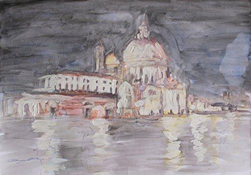 Landschaft von Venedig-Auf Papier fabriano gemalt Abmessungen cm50x34,5x0,1 cm -Acryltechnik Unikat gefertigt ,von Hand von Künstler Davide Pacini,Bereit, an der Wand befestigt zu werden (Ein Vogel In Der Hand)
