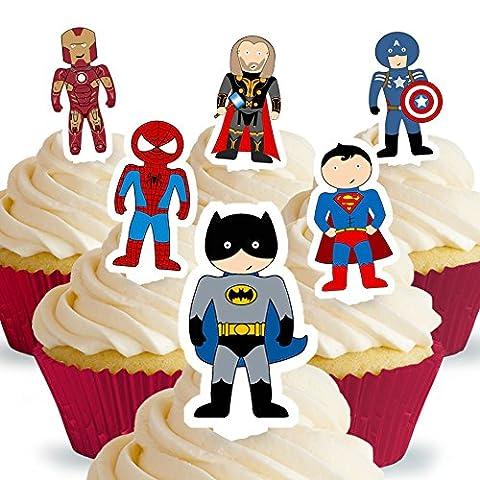 Lot de 12 silhouettes assorties avec onglet Super-héros Comestibles PRÉ-DÉCOUPÉES par Cakeshop