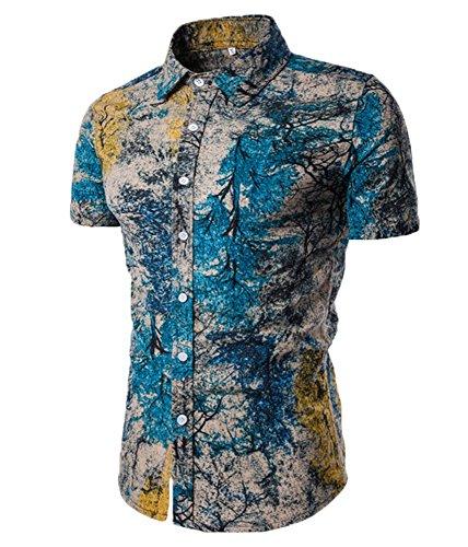 jackmai Mens Blumendruck Strand Hawaiian Shirts Urlaub Tops, Sommer Kurzarm Casual Shirts (Hawaiian Camp-shirt Mens)