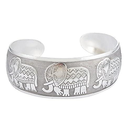 Souarts Bijoux Femme Bracelet Manchette Motif Elephant Style Ethnique Rétro